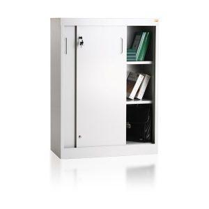 Szafa biurowa dwupółkowa, z drzwiami przesuwnymi,  idealna do przechowywania dokumentów RODO 2018BP/2